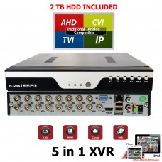 EV-DVR16XVR-1080N : 16Channel 1080P AHD Realtime H.264 high Profile Standalone DVR Recording Compatible With AHD/TVI/CVI/ Analog Camera with 2 TB HDD