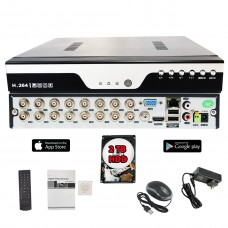 16 Channel H.265 HD Standalone 4in1 AHD TVI CVI Cloud Option CCTV Security Surveillance DVR with 2TB HDD Installed