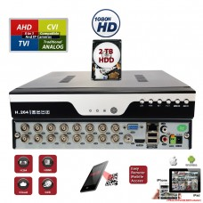 16 Channel H.264 HD Standalone 4in1 AHD TVI CVI Cloud Option CCTV Security Surveillance DVR with 2TB HDD Installed