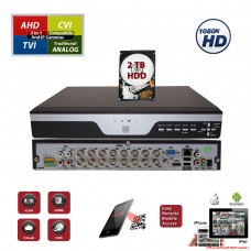 16 Channel H.265 1080N 5in1 Standalone 2 Hard Drive Capacity DVR Compatible With AHD TVI CVI Analog Cameras with 2 TB HDD