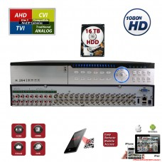 32 Channel 16TB H.265 HD 4in1 AHD TVI CVI Analog Security Surveillance DVR with 16TB Hard Drive Installed