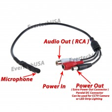 High Sensitive Audio Pickup Device External Amplified Mini Spy Microphone with Power Plug for CCTV Audio Surveillance