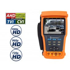 "Evertech AHD CVI TVI and Analog 4in1 CCTV TESTER Pro 3.5"" TFT LCD Monitor Video, PTZ Tester, Cable Tester with Multimeter 11 Func. in 1 for Security Camera Systems. Compatible w/ 1080P 960P & 720P"