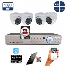 4 Dome Security Camera 1080p HD system 8 Channel DVR w/1TB Hard Drive Remote Viewing Playback Motion Detection