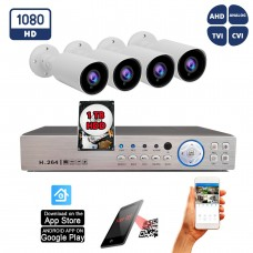 8 Channel HD Surveillance System w/ H.264 DVR and 4pcs. 1080P Manual Zoom Adjustable Lens Bullet CCTV Security Camera w/ 1TB Hard Drive for recording