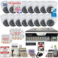 16 Channel HD DVR w/ 16 pcs 4in1 AHD TVI CVI ANALOG 1080P Manual Zoom Lens Dome CCTV Security Camera System w/ 2TB Hard Drive