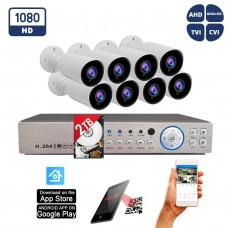 16 Channel Surveillance System w/ 2TB Hard Drive and 8 x 1080p Indoor Outdoor IR Bullet Security Cameras