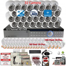 32 Channel complete CCTV Surveillance system with H.264 DVR/2TB HDD and 32 x Outdoor Indoor 1080p 3.6mm fixed lens security cameras
