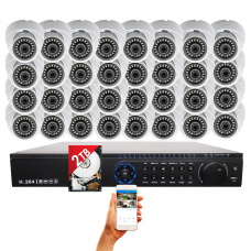 32 Channel complete CCTV Surveillance system with H.265 Digital Video Recorder  2TB HDD and 32 x Outdoor Indoor HD 1080p 3.6mm Fixed Lens Security Cameras
