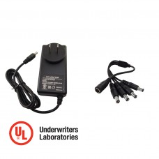12V DC 3 Amper (3000 mA) UL Certified Power Adapter with 1 to 4 Splitter CCTV