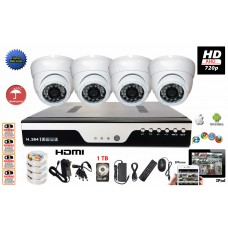 HD 720P AHD 4 Channel Surveillance Set for Home Office Retail Store Security HD DVR 720P IR Dome Camera System  + 1TB HDD