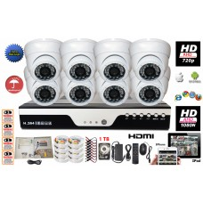 HD-CCTV 8 Channel  DVR + 8 x 720P Dome Camera CCTV Security Surveillance Camera System Complete Set with 1TB HDD
