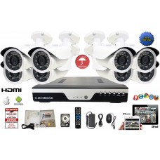 8 Channel 720P DVR CCTV Surveillance System 6 Bullet 1.3 MP Camera  + 2TB HDD