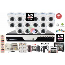 16 Channel HD-CCTV Surveillance Home Office Retail Store Security System Dome Metal Case with 2TB HDD