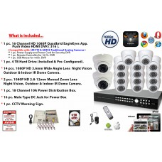 16 Channel 1080P DVR + 16 Pcs. HD 1080P Camera Security Surveillance System Kit