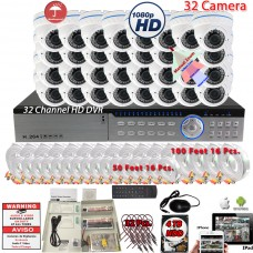 32 Channel HDMI DVR 32x IR Manual Zoom HD CCTV Security Camera System w/ 4TB HDD