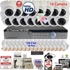32 Channel HD DVR with 16 pcs. 1080P 2.8-12mm Security Surveillance CCTV Camera Complete System 4TB