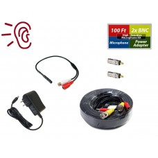 CCTV High Sensitive Microphone Kit Audio Mic Power & 100 Feet BlkCable w/0.8A