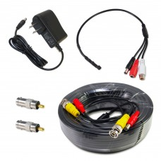 CCTV Microphone Kit for Security System, 50 FT Black Cable, 12V DC Adapter
