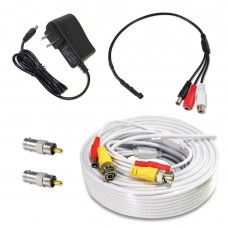 CCTV Microphone Kit for Security System, 50 FT White Cable, 12V DC Adapter