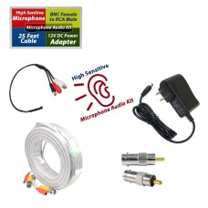 CCTV Microphone Kit for Security System, 25 FT White Cable, 12V DC Adapter