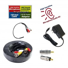 High Sensitive Preamp Surveillance Microphone Audio Pickup Device Kit with 100 Feet CCTV Cable and 12V DC Power Supply