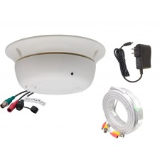 1080P HD TVI, AHD, CVI AND ANALOG, Indoor 3.7mm Fixed Iris Wide Angle smoke detector style hidden security camera with power adapter and 100ft cable