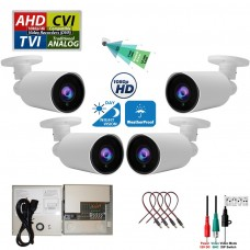 4 pcs. Evertech 1080P HD TVI AHD CVI Day Night Vision Indoor Outdoor CCTV Bullet Security Camera with 4 Channel Power Supply box