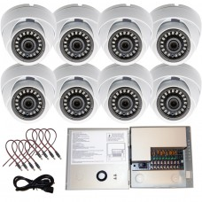 HD 1080p Dome Security Cameras Set of 8 w/Power Supply Distribution Box
