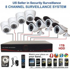 4. 8 Ch Channel Surveillance Home Security Premium 960H Hybrid DVR Camera System 4pcs Dome & 4pcs Bullet with 1 TB