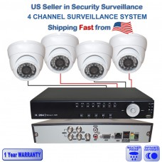 1. 4 Ch Channel Surveillance Home Office Retail Store White Dome Security Camera Day/Night System