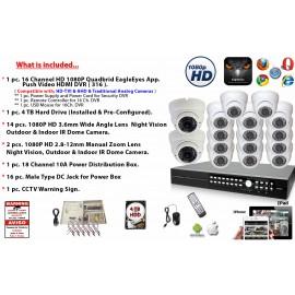 16 Channel 1080P DVR + 16 Pcs. HD 1080P Camera Security Surveillance System Kit