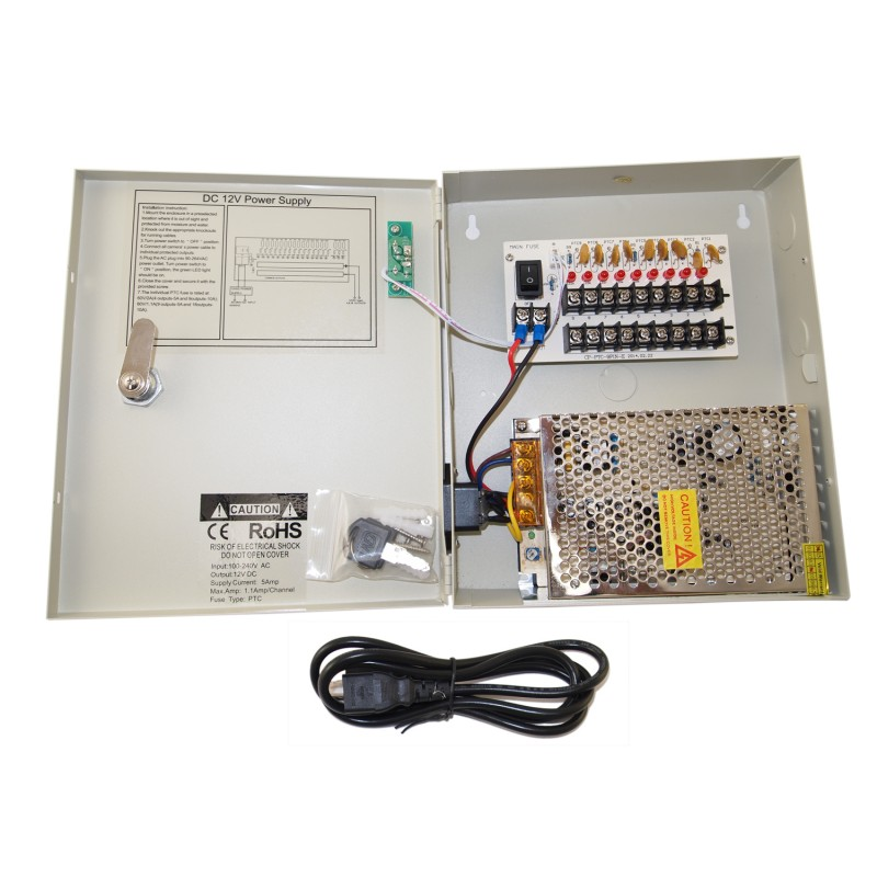 Ev Pb09 05p Power Box 9ch Security Camera 5amp Fuse Cctv