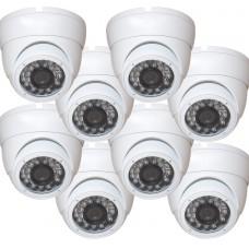 "EV-CDM168HYB V.1      -     8pcs 1/3"" Weatherproof Color 720p 20m IR LED Metal Security CCTV DOME Camera"