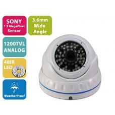 EV-CDM372FX V.12-W  1200TVL High Resolution SONY Cmos Sensor, 3.6mm Fixed Iris Lens, Vandalproof  Powerful IR Night Vision ( Day & Night ), Indoor & Outdoor Security Dome Camera