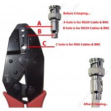 Professional Coax Coaxial BNC Connector Crimp Crimping Tool - RG59 Siamese Cables for CCTV Security Cameras