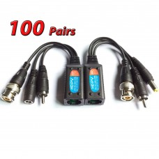 100 Pairs of 8 Megapixel UTP balun HD cat5 to BNC Video Baluns Transceiver Passive Video Power and Audio/Data Connector RJ45 Cat5 Cat6 Data Transmitter