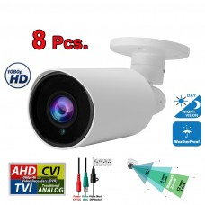 8 pcs. Evertech 1080P HD TVI AHD CVI Day Night Vision Indoor Outdoor CCTV Bullet Security Camera
