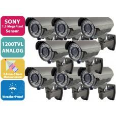 EV-C948IR V.12 x 8 - 8 Pcs. 1200TVL SONY 1.3 MegaPixel CMOS Sensor Analog 42 IR LED Metal Security CCTV Bullet Camera
