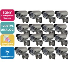 EV-C948IR V.12 X16 - 16pcs 1200TVL SONY ANALOG 1.3MegaPixel CMOS Sensor Weatherproof Color 42 IR LED Security CCTV Bullet Camera