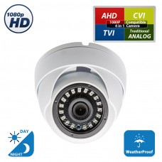 HD 1080p 4-in-1 TVI/AHD/CVI/Analog ( 960H / CVBS ) Day Night Vision Outdoor Indoor Weatherproof Wide Angle CCTV Security Surveillance Camera (White Metal Casing)