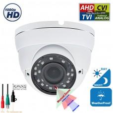 1080p HD Security CCTV Camera 4-in-1 TVI/AHD/CVI/Analog (960H/CVBS) Day Night Vision Outdoor Indoor Weatherproof Wide Angle Manual Zoom CCTV Security Surveillance Camera