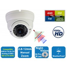 EV-CDM368HYB V.2S   -  MP 2.1 HD CCTV 1080P AHD TVI CVI Night Vision Indoor Outdoor CCTV Security Camera