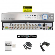 16 Channel No HDD H.265 1080N 5in1 Standalone 2 Hard Drive Capacity DVR Compatible With AHD TVI CVI Analog Cameras (No Hard Drive Included)