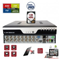Evertech 16 Channel Digital Video Recorder H.264 Hybrid 4in1 AHD TVI CVI Analog CCTV Security Camera DVR  with 1 TB HDD