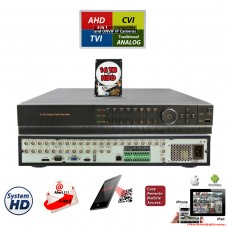 32 Channel H.264 5in1 DVR with 16TB Hard-Drive HD-CCTV AHD TVI CVI Analog Home Office Professional Standalone DVR Recorder HDMI QR Cloud Support with 16TB HDD Installed