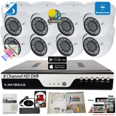 8 Channel Security Surveillance Camera System with 8pcs 2.8-12mm adjustable lens dome cameras w/1TB Hard Drive 24/7 continuous recording