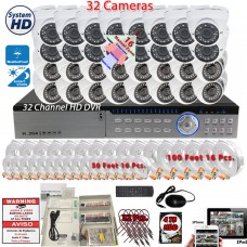 32 Channel Security Surveillance System 4TB Hard Drive and 1080p high Resolution Indoor / Outdoor Dome Cameras Easy Remote Access Playback USB Backup