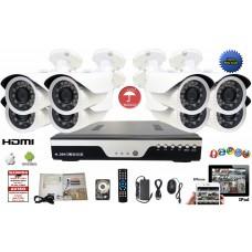 8 Channel 720P DVR CCTV Surveillance System 6 Bullet 1.3 MP Camera  + 2TB HDD