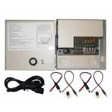 Evertech 4 Channel Port 12 Volt DC Output CCTV Power Supply Distributed Box for Security Camera with 4 Pcs. DC Male Pigtail